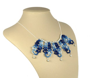 Trendy jewelry, bib necklace, lace necklace, burlesque necklace, goiter tape, tatting jewelry, blue-white,