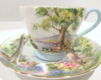 Shelley Woodlands Pattern, Shelley Teacup and Saucer, Richmond Shape Tea Cup and Saucer, Tea Cups Vintage, Shelley China
