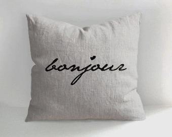 Bonjour - Hand Drawn Linen Pillow -Decorative Pillow Cover - Throw Pillow - Natural Linen -  Cushion - Decorative Cushion - Hand drawn