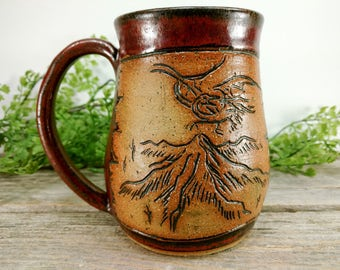 Lonely Mountain Mug 16 oz- Copper - Wheel Thrown and Hand Carved Coffee Cup