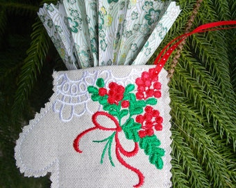 Christmas ~ Holiday~ Wreath ~ Decoration ~ Mitten Ornament Machine Embroidered on Reclaimed Linen with Holly Berries