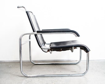 Mid Century Modern Lounge Chair B 35 Marcel Breuer Thonet Black Leather Chrome Cantilever Vintage Bauhaus Armchair FREE SHIPPING