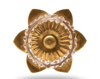 Clear Glass Berry Knob with Brass Flower