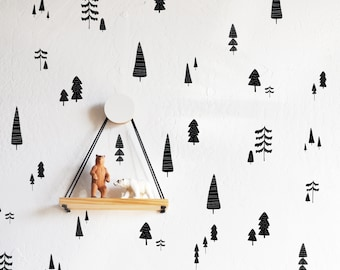 Wall Decal - Hand Drawn Forest Compilation Solid - Wall Sticker - Room Decor