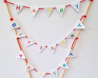 Personalised Rainbow Children's Birthday Party Cake Topper Bunting Decoration