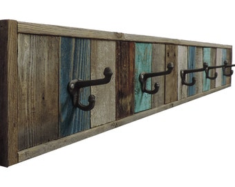 "Reclaimed Barnwood Towel Rack (5 Hooks, 7 1/2"" tall & 46.25"" long)"