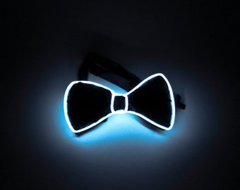 White Light Up Bow Tie - Neck Tie - Halloween, Weddings, Bachelorette, Party, Christmas