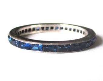 Art Deco Sterling Silver Eternity Band With Dark Blue Paste Stones