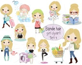 Blonde hair girl clipart set 3,girl stickers clipart instant download PNG file - 300 dpi