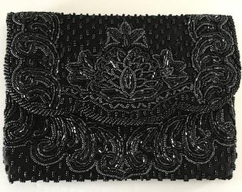 Black Beaded Evening Clutch / Cross Body Bag