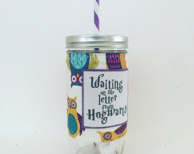 Waiting on my Letter From Hogwarts -Harry Potter- Mason Jar Cup - Bpa Free Stiped Straw - travel mug coffee glass