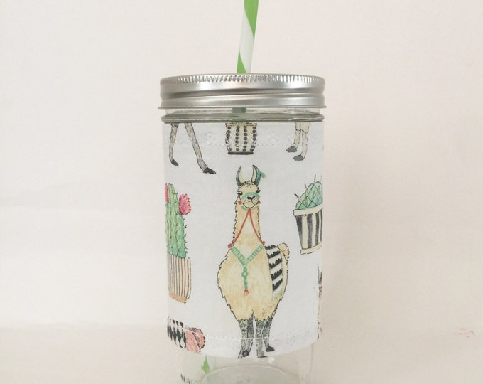 Cactus and Llamas  Insulated Mason Jar Tumbler and Cozy w BPA Free Straw - Travel Mug Great Gift