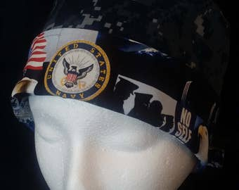US Navy NWU Camo Wrap Style Surgical Scrub Hat and Chemo Cap