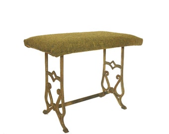 Antique 1900s Cast Iron Foot Stool- Sewing Bench- Antique Singer Stool- Ornate Metal Ottoman -Olive Green Tweed Fabric- Art Deco/Art Nouveau