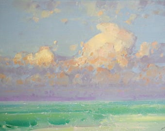 Turquoise Sky, Seascape Original oil painting, Handmade artwork, large size painting, one of a kind