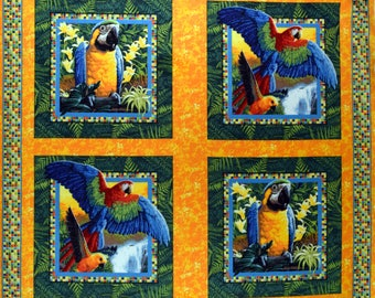 Parrot Fabric Pillow Panel Wings of Paradise 100% Cotton Sold By the Panel