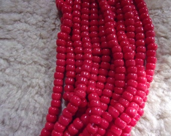 Red glass crow beads, 9mm beads, red beads, large beads , for diy crafting, bead supply