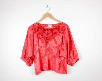 Cut Out Embroidery Red Textured Satin with Flowers Loose Baggy Boho Style Batwing Sleeve Blouse 80s Vintage Top