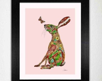 Hare Wall Art Hare Nursery Print Hare Picture  Nursery Wall Art Hare Nursery Decor.Hare Painting great for a nursery or child's bedroom