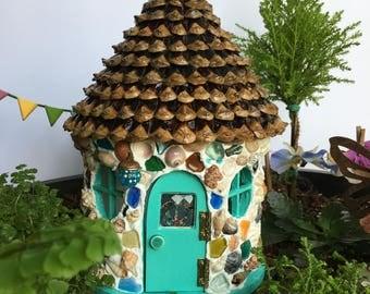 Fairy House, Fairy Garden House,Outdoor Fairy House, Sea Glass Cottage