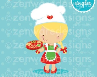 Blonde Girl Christmas Chef Clipart