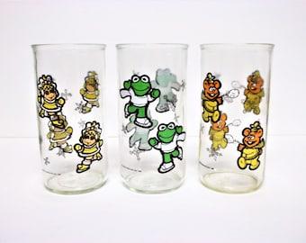 Jim Henson's 1989 Miss Piggy, Kermit And Fozzie Bear Muppet Babies Collectors' Glasses. Set Of 3