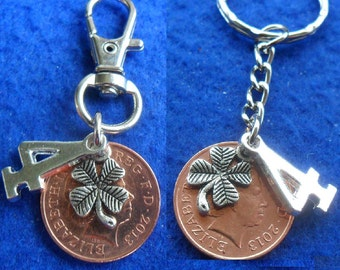 4th Anniversary Gift 2013 British Coin keyring or bag charm 4th wedding anniversary gift for a man or gift for a woman