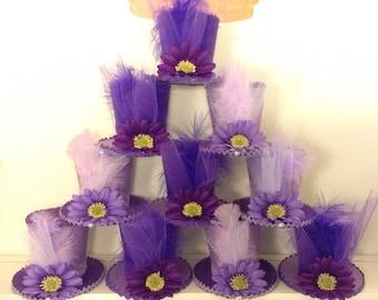 "PURPLE & LAVENDER Bridal Shower Decorations, Felt Hats, Fascinators, Mad Hatter Tea Party, Alice in Wonderland, Favors, Birthday (3.5"" Tall)"