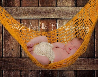 Hanging Baby Prop, TAN, Crochet Hammock, Photo Prop, boy or girl, neutral baby prop, hanging prop, light brown, baby hammock, newborn prop