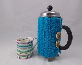Cafétiere cozy turquoise blue insulating for Bodum coffeemaker frenchpress coffeeplunger with 2 paradise bird button made of varnished wood