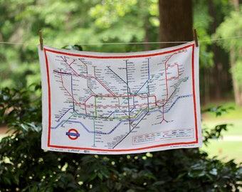 Vintage London Underground Tea Towel / 1970's London Tea Towel / London Tube Tea Towel / London Linen Tea Towel / London Tube Souvenir