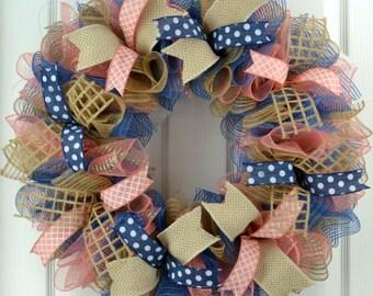 Year Round Door Weath - Coral wreath - Spring wreath - Everyday wreath - Burlap wreath - Year Round wreath - Everyday spring wreath