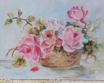 Shabby chic pink roses in a baskets 12 x 16 oil on canvas