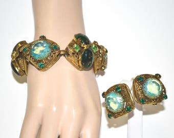 Vintage Coro Pegasus Bracelet with Earrings Green Art Glass Rhinestone Demi
