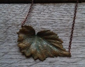 Brass Verdigris Leaf Necklace