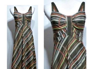 70's Style Striped Midi Dress