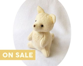 CLEARANCE SALE Handmade Felt Arctic Fox Doll, Collectible White Woodland Animal Soft Sculpture with hand Embroidery, Nursery Decor