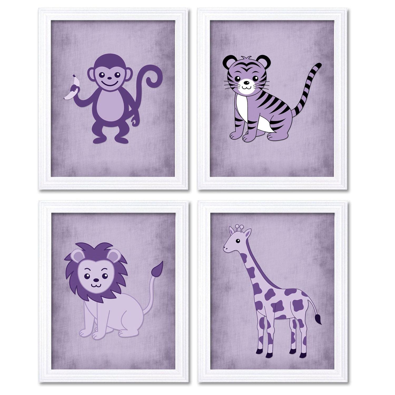 Purple Africa Safari Jungle Animals Nursery Art Baby Parchment Style Set of 4 Prints Tiger Monkey Li