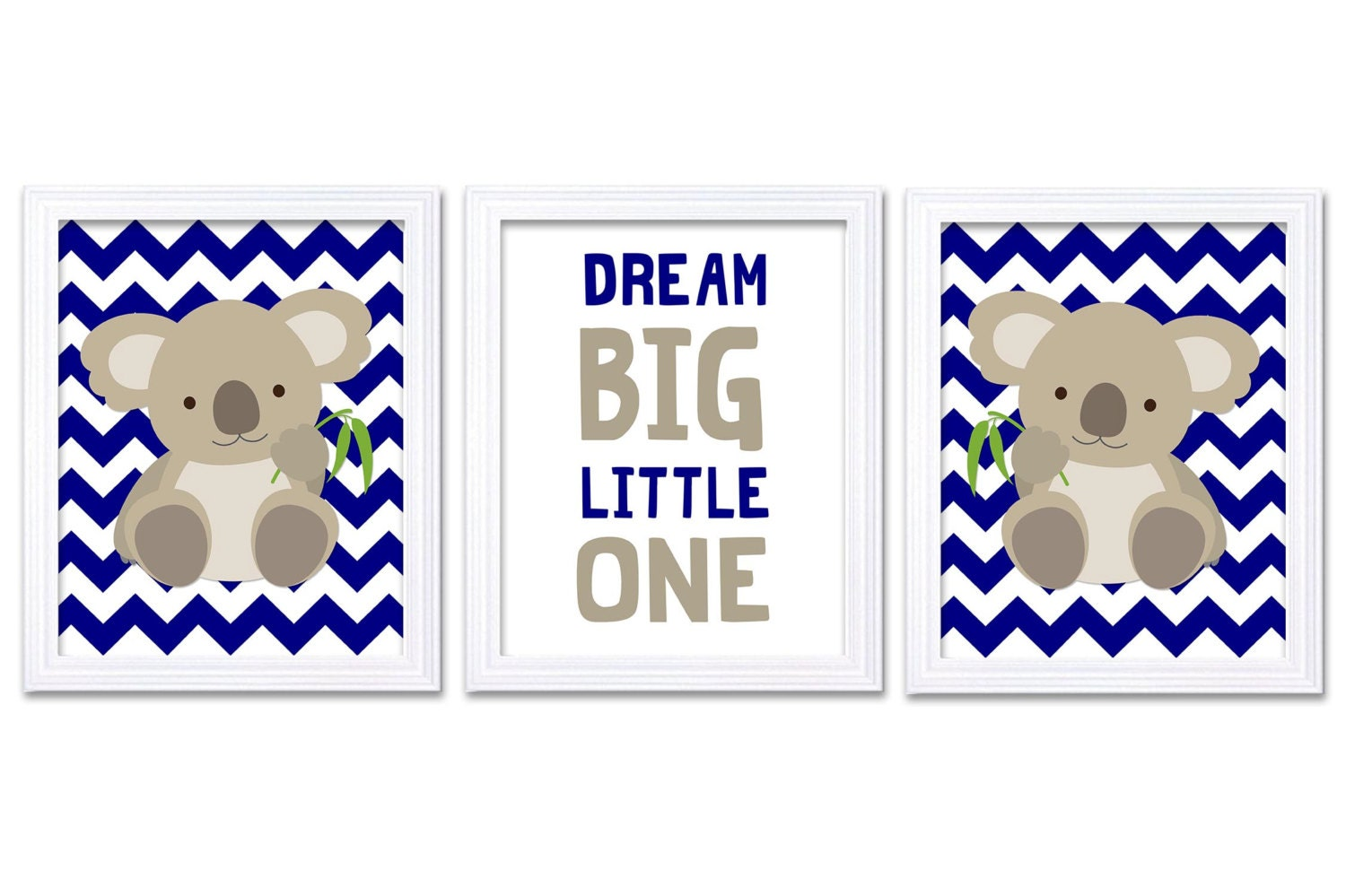 Koala Nursery Art Set of 3 Print Navy Blue Grey Gray Dream Big Little One Child Kid Room Wall Decor