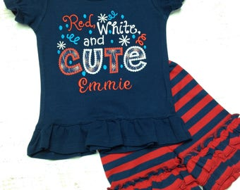 Girl's 4th of July outfit, Girl's 4th of July shirt, July 4th Shirt, Patriotic Shirt, Fourth of July, 4th of July ruffle shorts, Ruffle