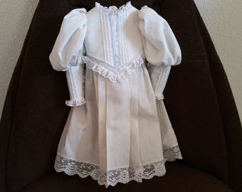 Handmade Doll Dress White Antique Style to Fit 21 to 24 inch Doll