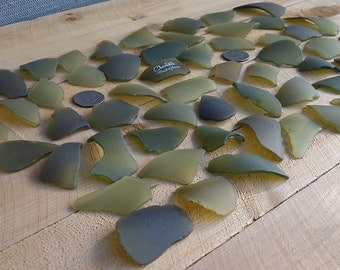 SEA GLASS WEDDING,  Escort Cards, Seating Cards  - Dead Leaf  Green -  Beach Glass, Machine Tumbled, 50 Pieces, 2544