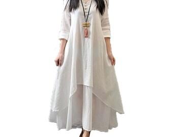 Aurora - Woman layered cotton long casual dress Boho collection- White