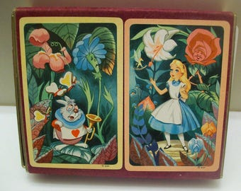 Vintage Walt Disney, Alice in Wonderland Playing Cards, 1951, One Deck Double box. But only one deck. VERY RARE Swap or Scrap Booking