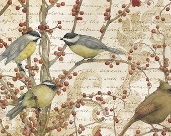 Legacy Studio Cotton Fabric-Winter Birds Vine 4 yards