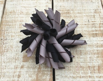 Black and Gray Korker Bow - Korker hairbows