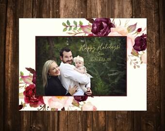 Marsala Floral Photo Christmas Card; Printable or set of 10