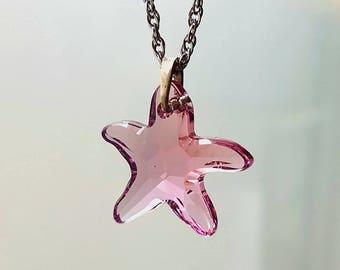 Starfish Necklace Swarovski Crystal Pink, Sky blue,  Pendant Stainless Chain