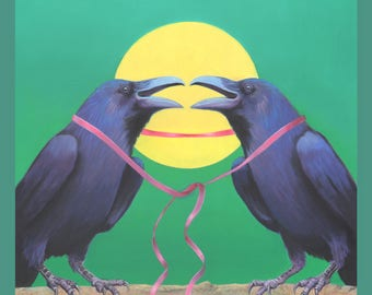 TOGETHER FOREVER -  raven, crow, native american, indian, corvid, love