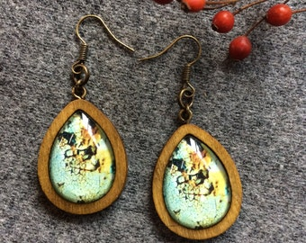 Blue teardrop earrings, wooden frame earrings